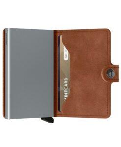 secrid miniwallet portemonnee cognac silver leer zilveren cardprotector bruin kaarthouder