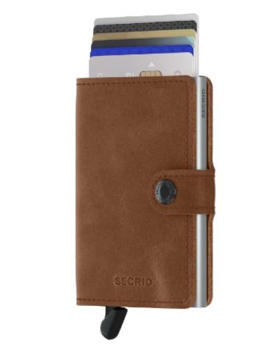 secrid miniwallet portemonnee cognac silver leer zilveren cardprotector bruin pasjes bescherming kaarthouder