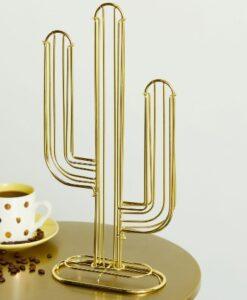 present time coffee cup holder koffiecapsule houder goud metaal cactus