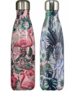 Chillys Bottles Tropical Edition Flamingo Elephant olifant groep roze groen 500ml