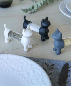 balvi toothpick holder tandenstoker houder kat wit grijs zwart peper en zout set