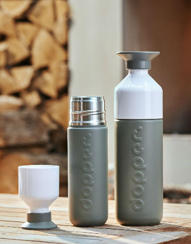 dopper insulated glacier grey sfeer productfoto 350ml 580ml