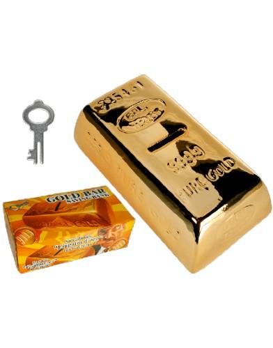 out of the blue ceramic gold bar keramische spaarpot goudstaaf met sleutel set