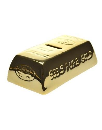 out of the blue ceramic gold bar keramische spaarpot goudstaaf met sleutel zijkant