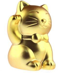 out of the blue lucky cat gouden kat spaarpot zijkant closeup