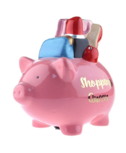 out of the blue shopping queen piggy bank spaarvarkentje