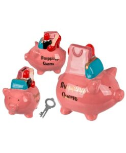 out of the blue shopping queen piggy bank spaarvarkentje met sleutel