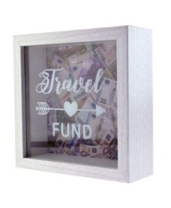 out of the blue travel fund houten spaarpot
