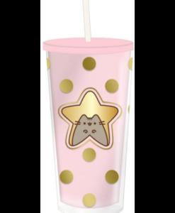 pusheen roze drinkbeker met rietje