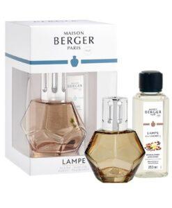 maison Lampe Berger Geometry Giftset kubisme brander navulling huisparfum amber powder oranje met verpakking