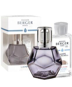 maison Lampe Berger Geometry Giftset kubisme brander navulling huisparfum cotton caress grijs paars met verpakking