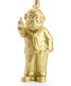 F_ck Fuck You Kabouter Met Opgestoken Middelvinger - 4 Kleuren tuinkabouter gnome goud gold