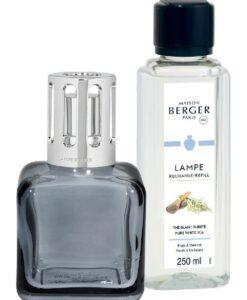 Lampe Berger Glaçon Grise Giftset grijs ijsklontje navulling huisparfum pure white tea brander