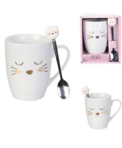 Mok En Lepel Kat - Wit_Goud le studio paris verpakking schattig cat