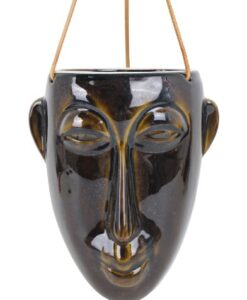 Present Time Hangende Wandvaas Masker - Lang muurdecoratie azteeks plantenbak