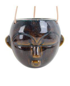 Present Time Hangende Wandvaas Masker - Rond plantenbak wanddecoratie glazuur porselein azteeks