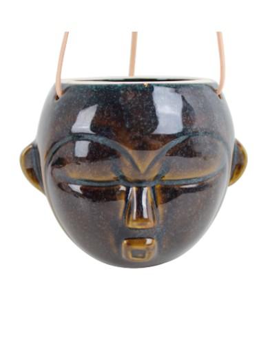 Present Time Hangende Wandvaas Masker – Rond plantenbak wanddecoratie glazuur porselein azteeks
