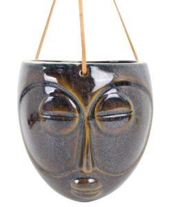 Present Time Hangende Wandvaas Masker lang rond bloempot plantenbak muurdecoratie azteeks