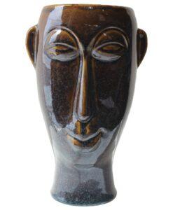 Present Time Vaas Masker Lang bloempot woondecoratie azteeks plantenbak donker bruin