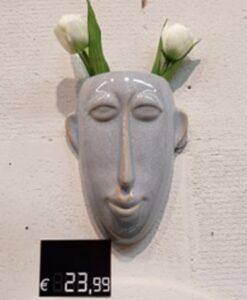 Present Time Wandvaas Masker Lang - Grijs bloempot plantenbak muurdecoratie azteeks sfeerbeeld