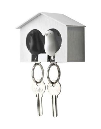 qualy duo sparrow key ring zwaluw sleutelhanger huisje fluitje zwart wit