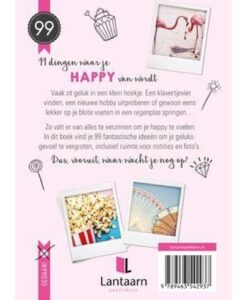99 Dingen Waar Je Happy Van Wordt achterkant samenvatting