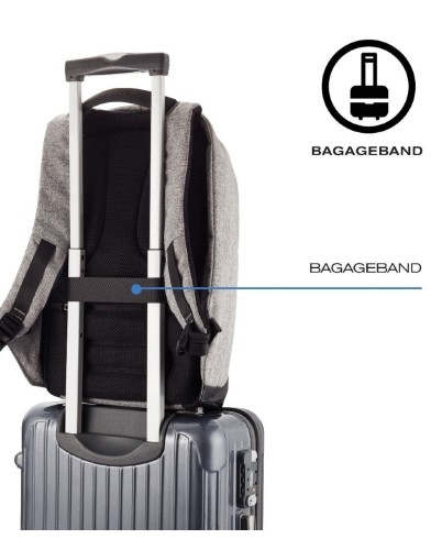 Bobby XL Anti-Diefstal Rugzak 17_ Grijs specificaties bagageband