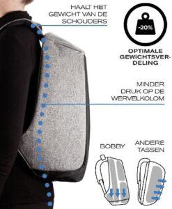 Bobby XL Anti-Diefstal Rugzak 17_ Grijs specificaties gewichtsverdeling