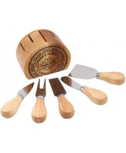 there's always time for cheese and wine knife set and stand kaas wijn mesjes houten standaard