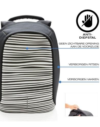 Bobby Compact Anti-Diefstal Rugzak Zebra xdesign specificaties anti-theft