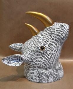 Aniwall Pomme-Pidou Neushoorn Lola beeld muurdecoratie rhino zwart wit zijkant