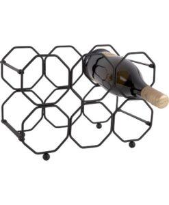 Present Time Wijnrek Honingraat honeycomb ijzer metaal inklapbaar zwart