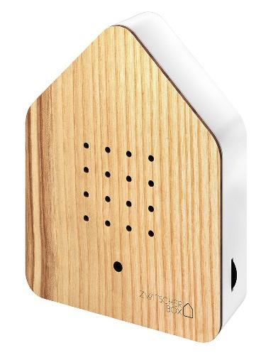 Zwitscherbox – Het Kwetterende Vogelhuisje – Ash essenhout birdbox zijkant