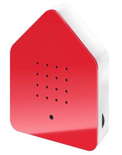 Zwitscherbox – Het Kwetterende Vogelhuisje – Red rood wit birdbox zijkant