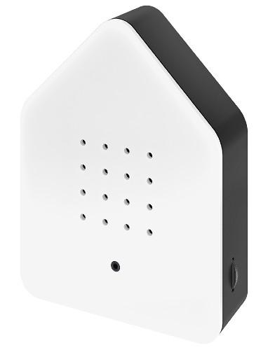 Zwitscherbox – Het Kwetterende Vogelhuisje – Special Edition White_Black wit zwart birdbox zijkant