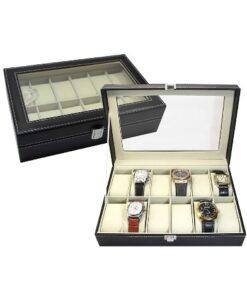 Luxe Horlogebox Opbergdoos - 12 Horloges open voorbeeld