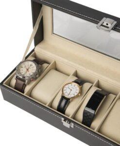 Luxe Horlogebox Opbergdoos - 6 Horloges voorbeeld open doos