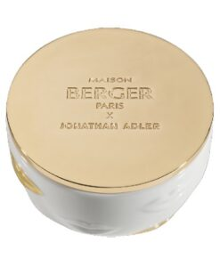 Lampe Berger Geurkaars Muse Jonathan Adler gouden deksel lippen porselein bovenkant detail