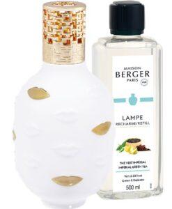 Lampe Berger Giftset Muse Jonathan Adler porseleinen brander muse lippen imperial green tea